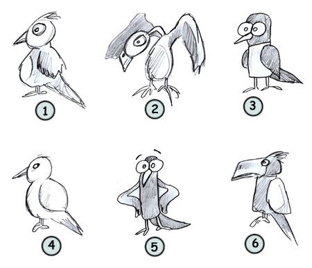 drawing cartoon birds