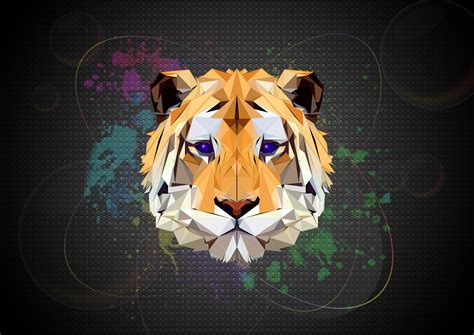 Polygon Animal Wallpaper - 1360x768 tiger facets laptop hd hd 4k wallpapers images
