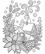 Coloring Snow Adults Cabin Crayola Pages Winter Adult Christmas Colouring Sheets Mandala Cat Flower Holiday Pattern Printable Easter Books Cardinal sketch template