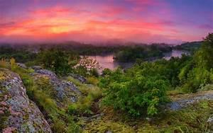 nature, , clouds, , sunrise, , river, , landscape, , mist, , trees