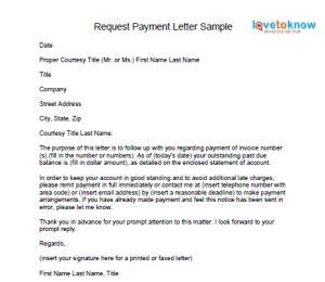 request payment letter accounting letter sample