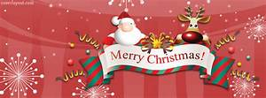 Santa Reindeer Merry Christmas Banner Facebook Cover ...