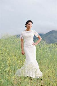 Mari in a modest lace wedding dress for Modest lace wedding dresses