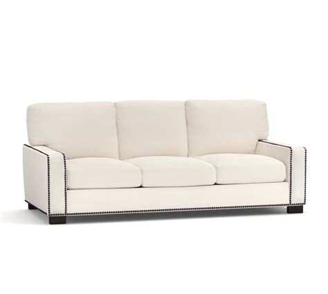 Pottery Barn Turner Sofa Craigslist by Turner Square Arm Upholstered Sofa With Nailheads