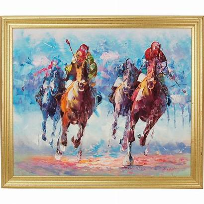 Abstract Oil Modern Mid Century Painting Horse