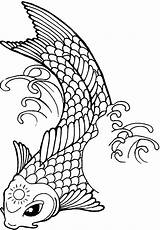 Koi Fish Coloring Pages Tattoo Sun Yang Yin Line Printable Forehead Its Drawing Template Ambush Tattoos Drawings Print Clipartmag Templates sketch template