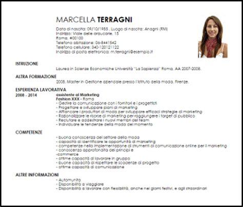 modello curriculum vitae fashion marketing manager