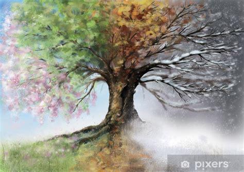 fototapete digitale illustration der vier jahreszeiten