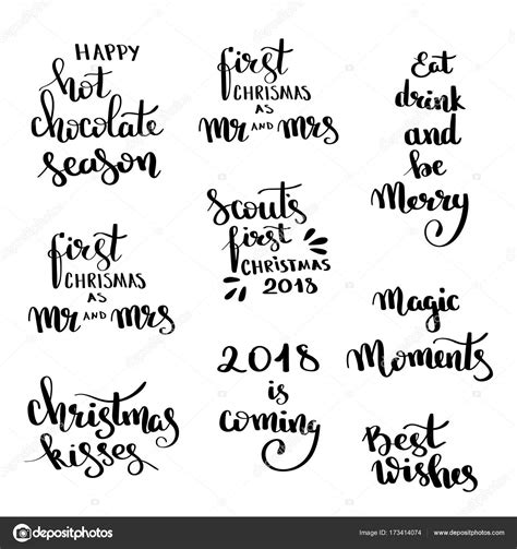 christmas hand drawn lettering design set handwritten