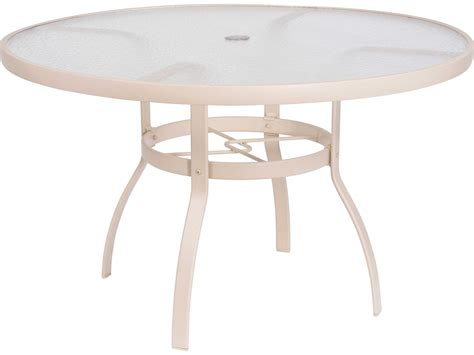 round plexiglass table top woodard deluxe aluminum sandstone 48 round acrylic top