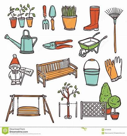Tools Gardening Hand Illustration Equipment Drawn Vector