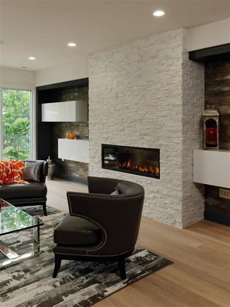 Modern Living Room With White Brick Fireplace Hgtv