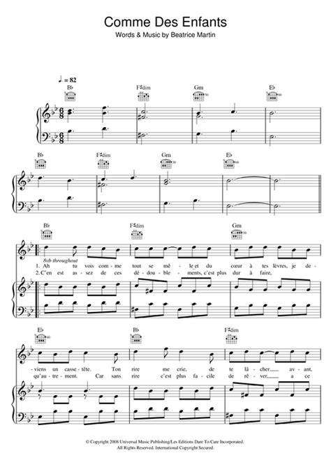 comme des enfants sheet music by coeur de pirate piano vocal guitar right melody