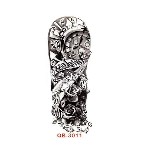 cm big tattoos black clock rose flower waterproof temporary tattoos cool tattoo designs