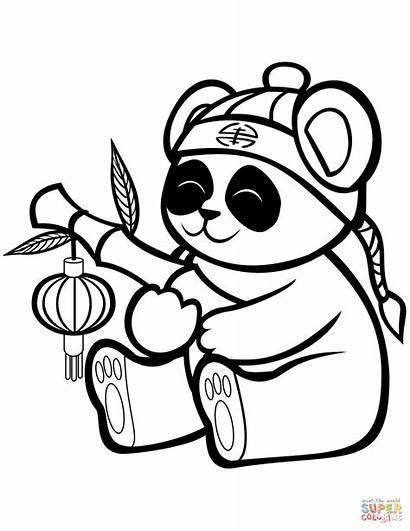 Panda Coloring Pages Bamboo Printable Animals Lantern