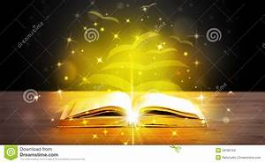 Open Book With Golden Glow Flying Paper Pages Stock Images ...