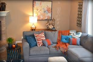 blue orange and gray living room fluff designs turquoise accent colors and