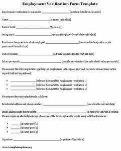 employment template for verification form format of With voe template
