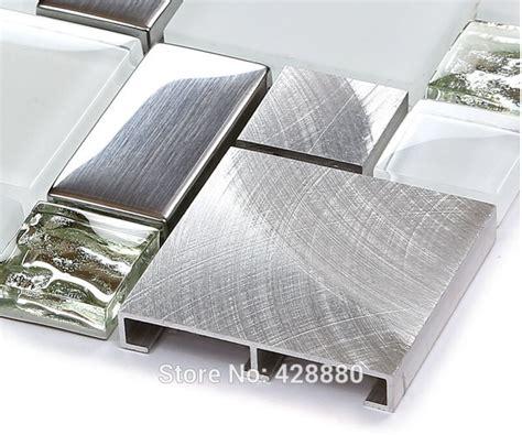 silver metal  glass tile backsplash ideas bathroom