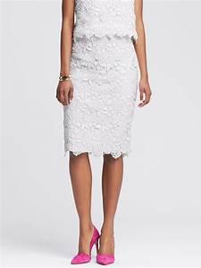 Banana republic Scalloped White Lace Pencil Skirt in White ...
