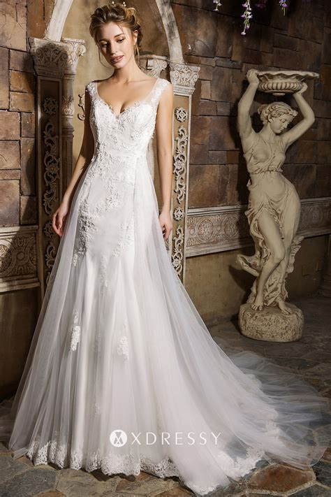 White Lace Tulle & Satin Overskirt Wedding Dress - Xdressy