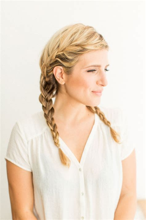 french braid pigtail  women hairstylo