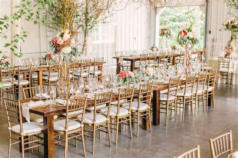 wedding tables and chairs gold chiavari chairs and long wood dining tables