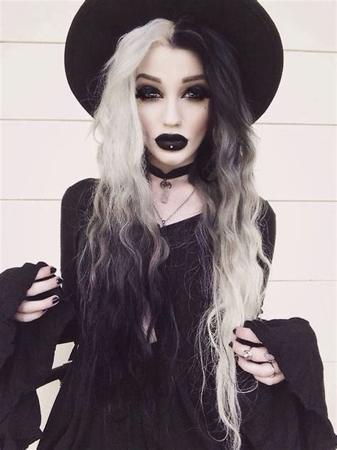 white black  toned hair  images witch makeup