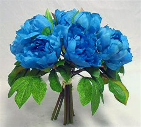 Turquoise Blue Teal  Peony Peonies Bridal Bouquet