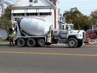 Cement Trucks Street Sidewalks Fall Short Word