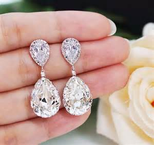 bridesmaid earrings wedding jewelry bridal earrings bridesmaid earrings cubic zirconia earrings with clear white