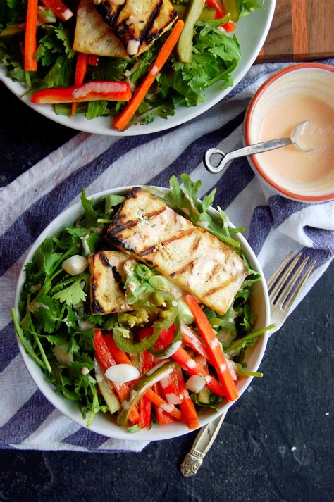 grilled tofu banh mi salad  sriracha greek yogurt