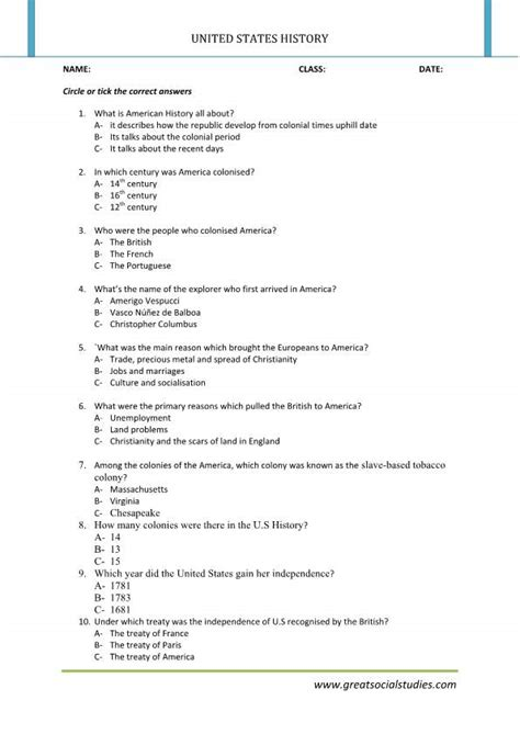 history of united states history worksheets united