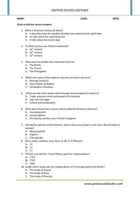 History Of United States, History Worksheets, United