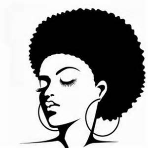 Black Woman with Afro Silhouette Clip Art
