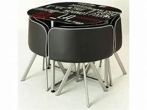 Table Avec Chaise Encastrable : ensemble table 4 chaises town vente de ensemble table et chaise conforama ~ Teatrodelosmanantiales.com Idées de Décoration