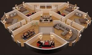 3d, Floor, Plan, Of, First, Floor, Luxury, House