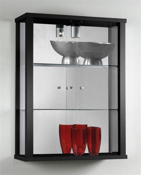 Glass Wall Display Cabinet in Black   Homegenies