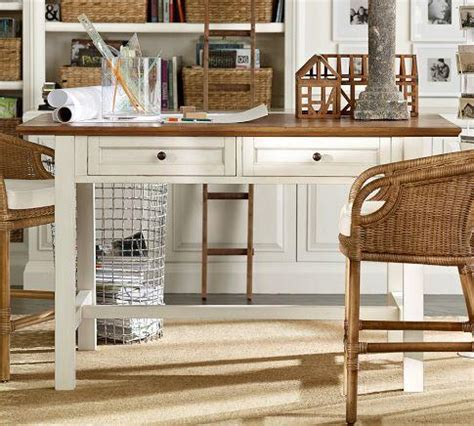 white desk with wood top whitney project table almond white pottery barn