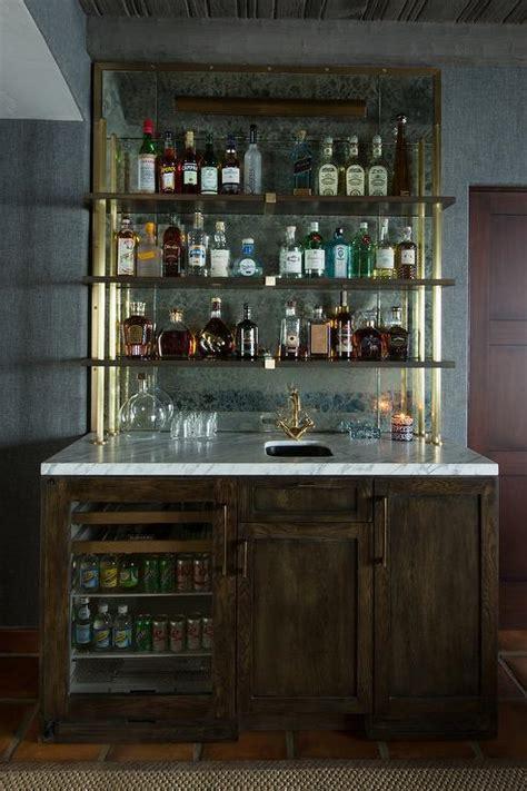 wet bar  shelves  antique mirror backsplash