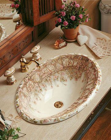 briar rose floral painted sink fairy tale home decor