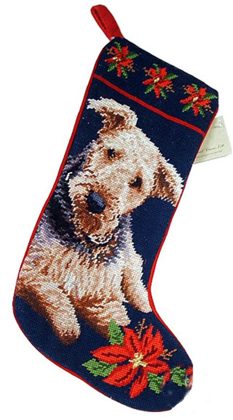 airedale terrier dog needlepoint christmas stocking