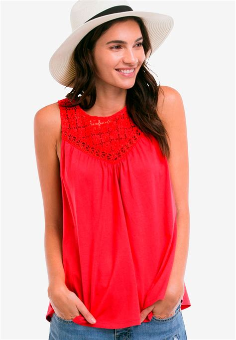 Sleeveless Lace Tank Top by ellos®| Plus Size Tank Tops ...