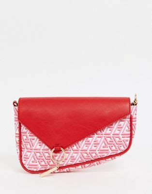 asos design quilted shoulder asymetric bag  monogram