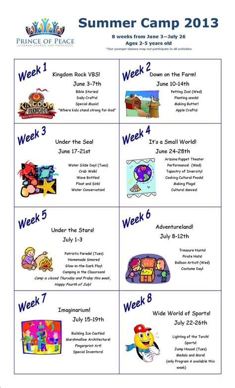 summer preschool ideas summer camp calendar 2013 i this idea to devote a 498