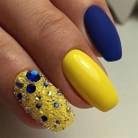 unaa de la wed azul  amarillas unas pinterest una