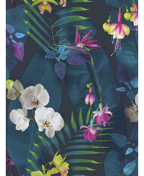 tropics pindorama floral wallpaper navy arthouse
