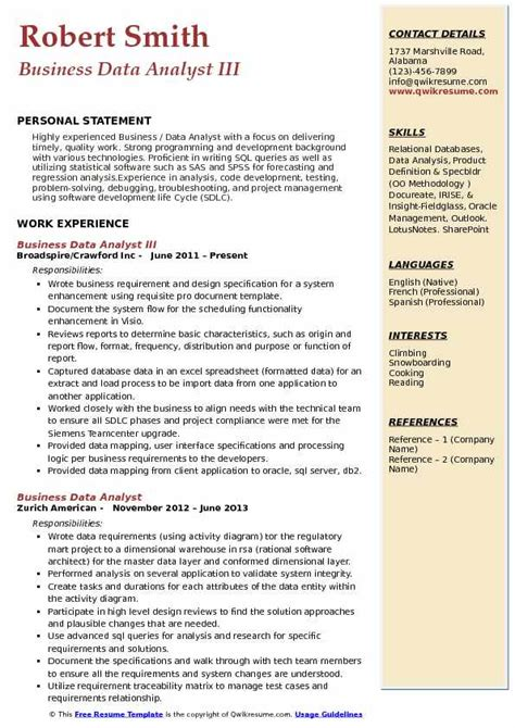 Teamcenter Project Manager Resume by Business Data Analyst Resume Sles Qwikresume