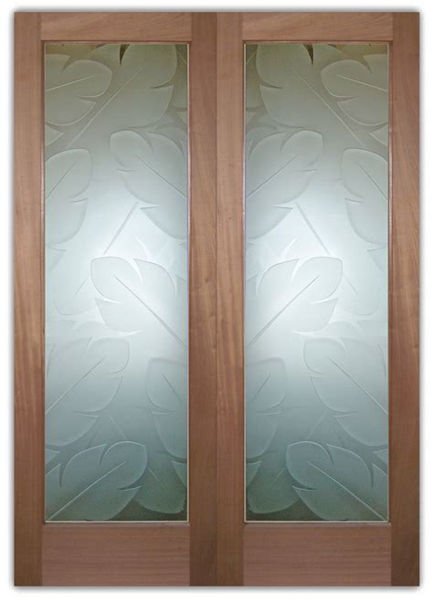 Frosted Glass Doors Banana Leaves  Sans Soucie Art Glass