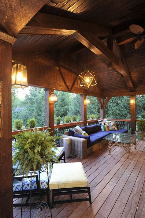 Outdoor Living Room Furniture For Your Patio by A Covered Deck Becomes An Outdoor Room With A Soaring